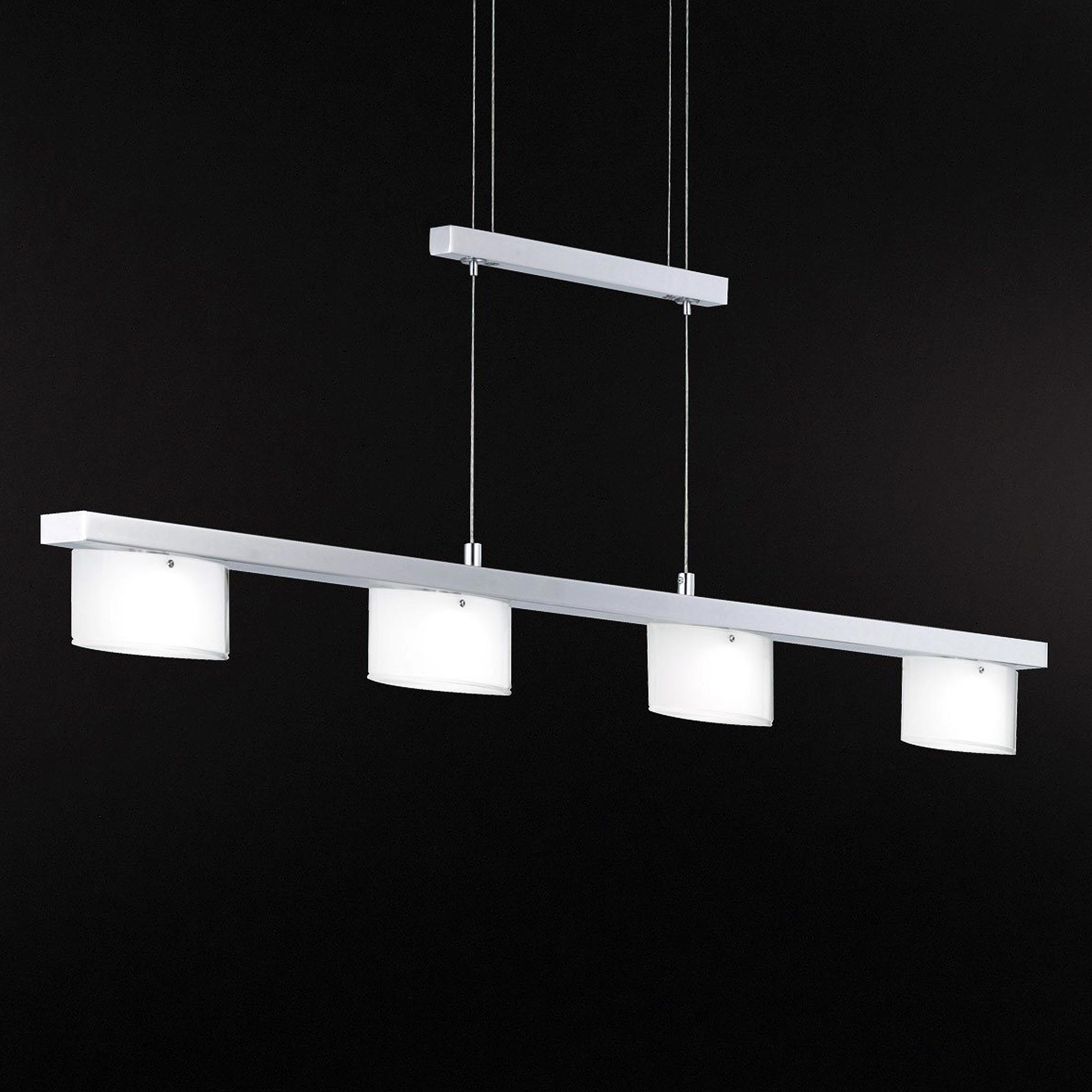 wofi led pendelleuchte avance 4 flg chrom glas wei. Black Bedroom Furniture Sets. Home Design Ideas