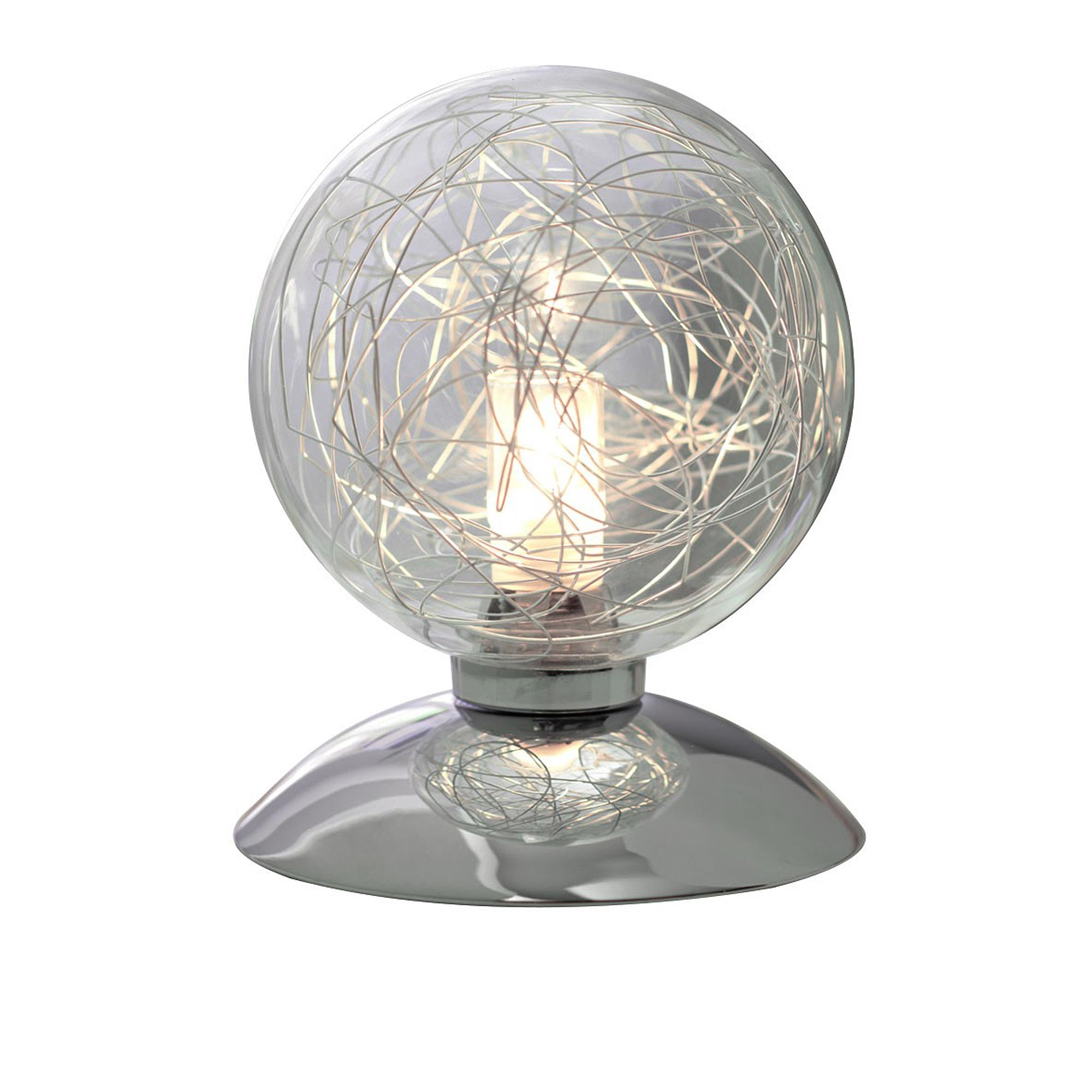 wofi lampe de table verre chrome 1 flg boule en interrupteur 33 watts 460 lumen ebay. Black Bedroom Furniture Sets. Home Design Ideas